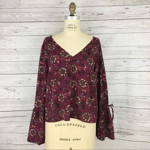 Band of Gypsies bell sleeve floral boho cutout top
